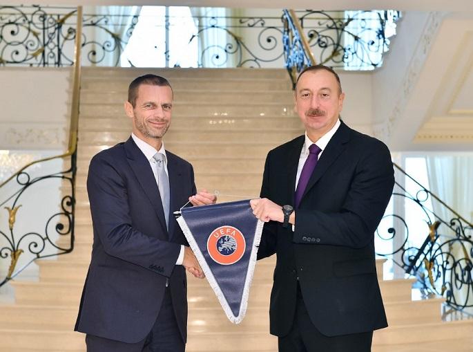 Prezident İlham Əliyev UEFA-nın yeni rəhbərini qəbul edib -