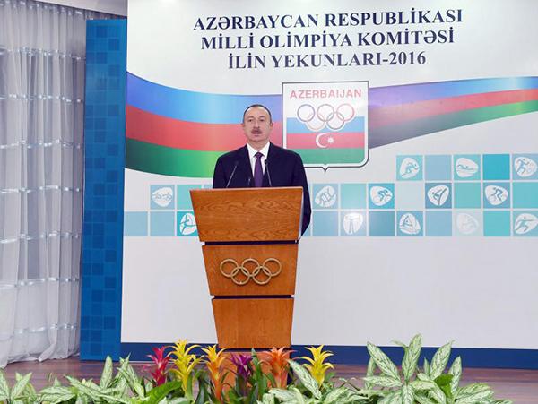 Prezident İlham Əliyev 2016-cı ilin idman yekunlarına həsr olunan mərasimdə iştirak edib