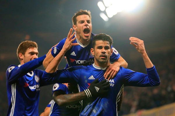 Diego Costa on target as Chelsea extend lead to eight points with win over Hull