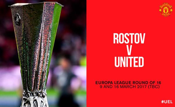 Man Utd to face FC Rostov in Europa League last 16